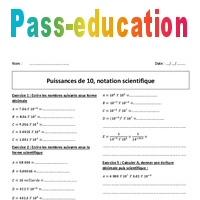 Puissances de 10 - Notation scientifique - 4ème - Exercices corrigés - Pass Education