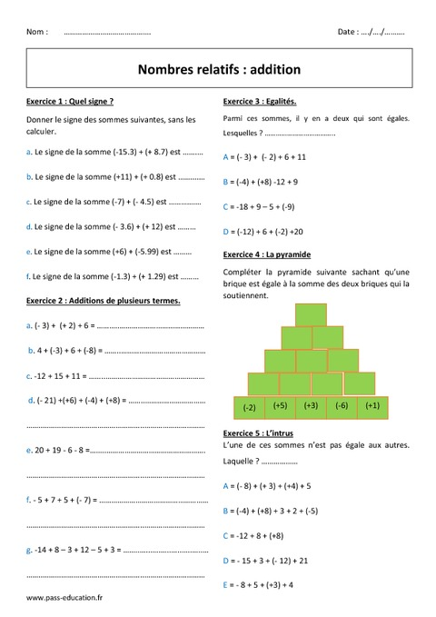 Addition des nombres relatifs 5 me exercices avec - Exercice corrige de table de karnaugh pdf ...