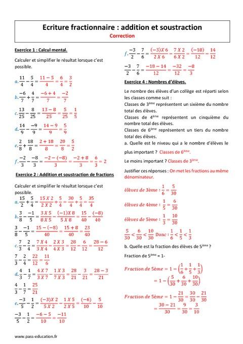 Addition et soustraction - 4ème - Exercices - Ecriture ...
