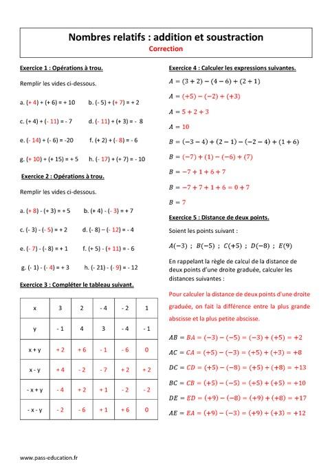 Addition et soustraction - 4ème - Exercices corrigés sur les nombres ...