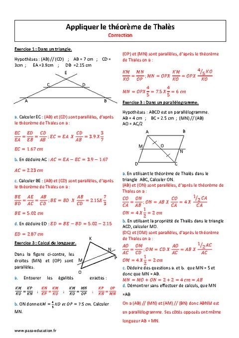 Appliquer le théorème de Thalès - 4ème - Exercices ...
