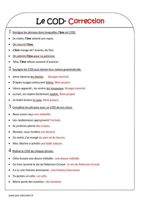 COD - Ce2 - Exercices sur le complément d'objet direct ...