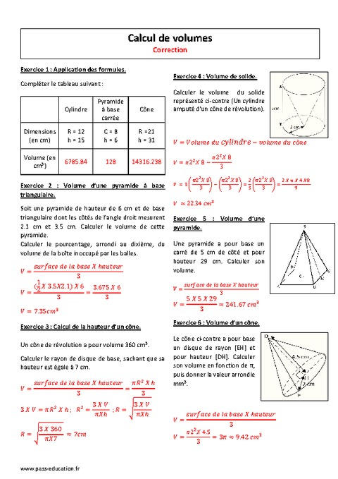 Calcul de volumes 4 me exercices imprimer pass for Calculer son volume de demenagement