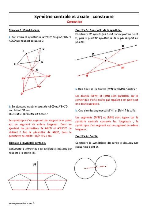 Centrale et axiale 5 me exercices imprimer sur la sym trie pass education - Symetrie a imprimer ...