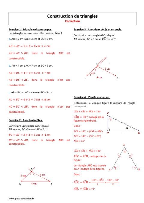 Construction De Triangles - 5 U00e8me - Exercices Corrig U00e9s