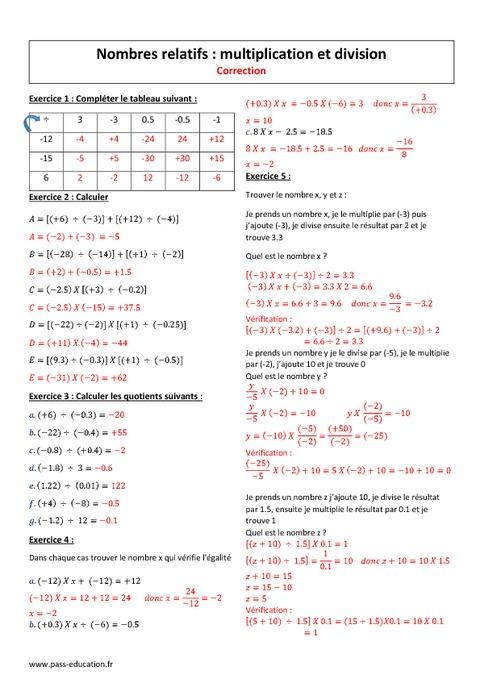 Division Et Multiplication 4 232 Me Exercices Nombres