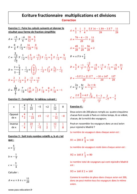 Ecriture fractionnaire - Multiplications et divisions ...