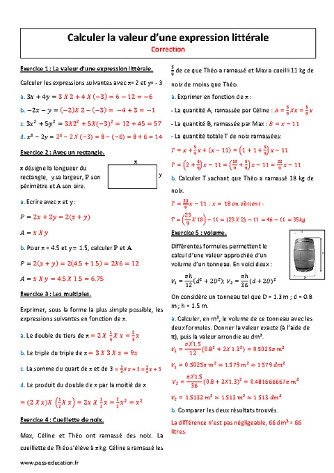 Expression litt rale calculer la valeur 4 me for Calculer son volume de demenagement