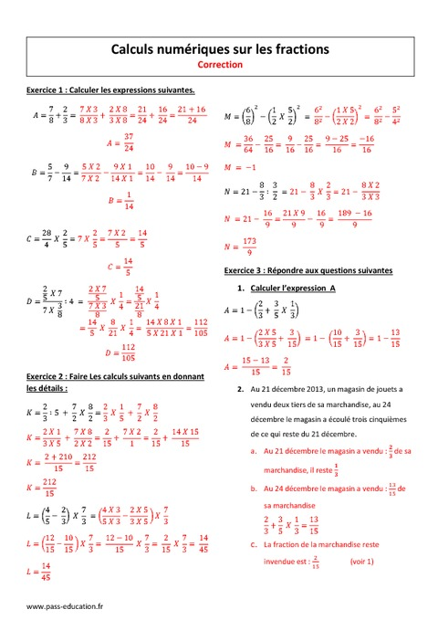 Fractions - 3ème - Exercices corrigés sur les calculs ...
