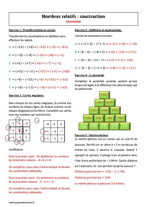 Nombres relatifs - Soustraction - 5ème - Exercices à ...