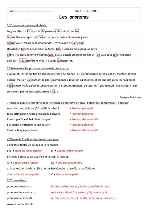 Exercices Adjectifs Possessifs Anglais 6eme A Imprimer