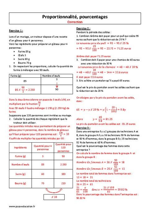 Proportionnalité - Pourcentages - 3ème - Exercices ...