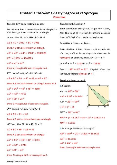 Théorème de Pythagore et réciproque - 4ème - Exercices ...