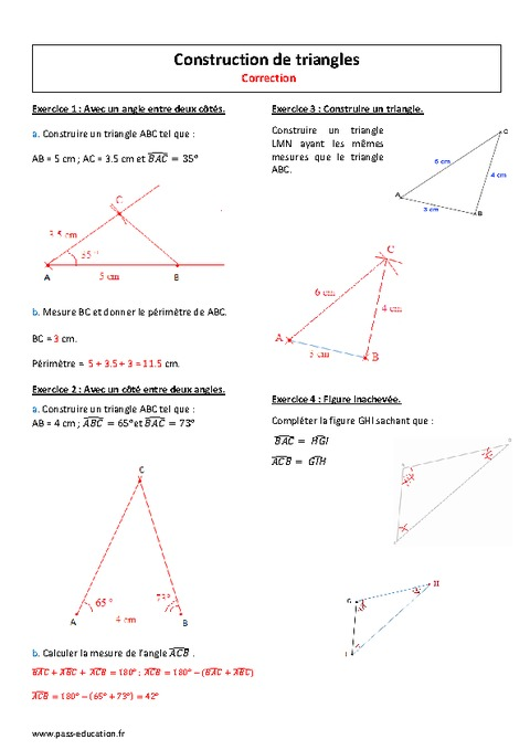 Triangles - 5ème - Exercices à imprimer - Pass Education