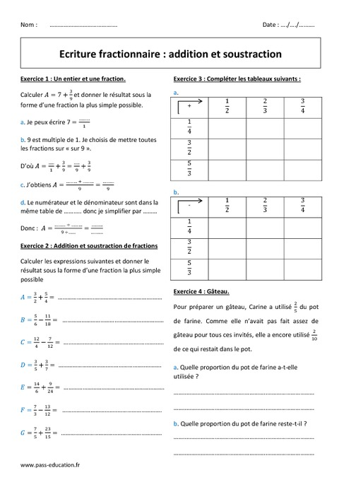 Ecriture fractionnaire - Addition - Soustraction - 5ème ...