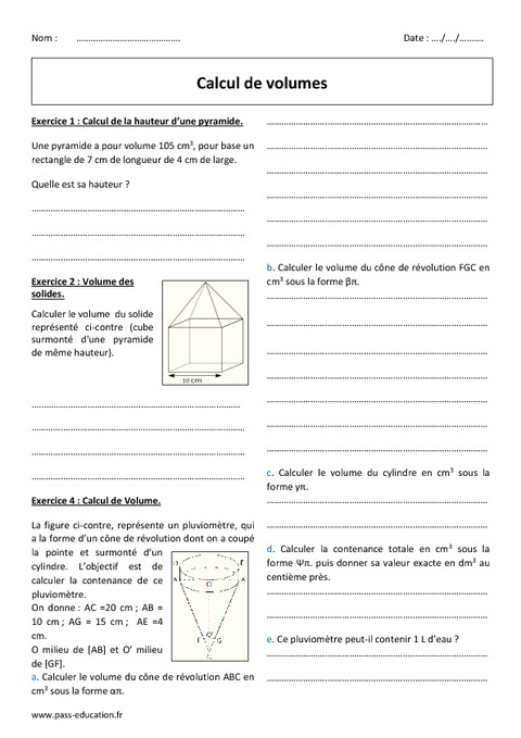 Volumes - Calcul - 4ème - Exercices corrigés - Pass Education