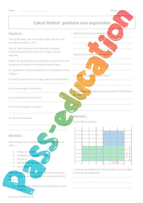 Souvent Calcul littéral - Produire une expression - 5ème - Exercices à  OG96