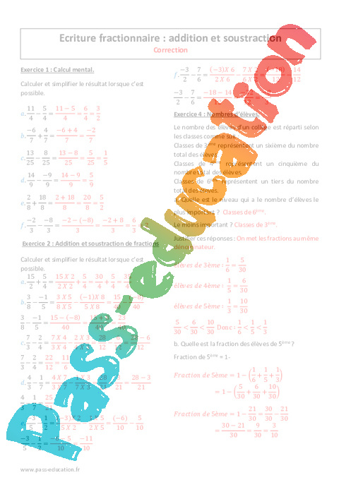 soustraction de fraction 4ème