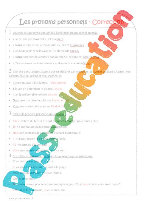 exercices sur les pronoms pdf