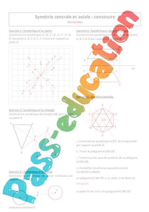 Symétrie centrale et axiale - 5ème - Exercices corrigés ...