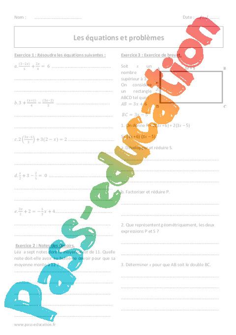 problèmes équation brevet