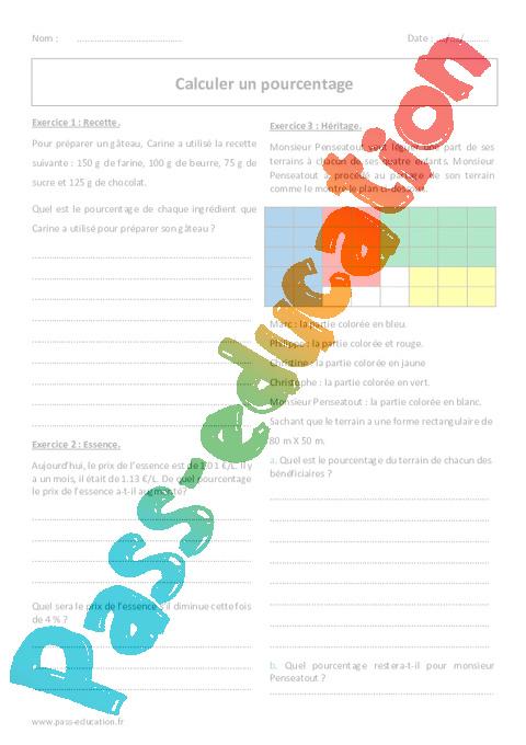 Célèbre Pourcentage - 5ème - Exercices à imprimer - Calculer - Pass Education ET79