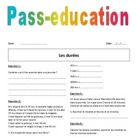 Durées - 6ème - Exercices corrigés - Heures, minutes, secondes - Pass Education