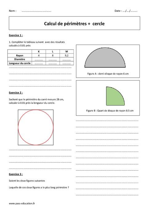 Cercle p rim tre 6 me exercices corrig s sur le calcul pass education - Calcul de metre carre ...