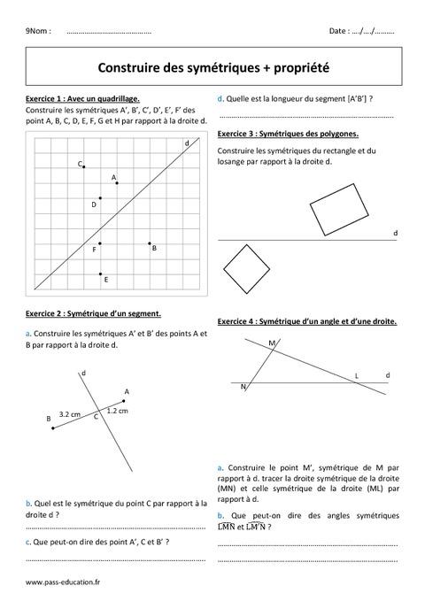 Construire des symétriques - Propriété - 6ème - Exercices ...