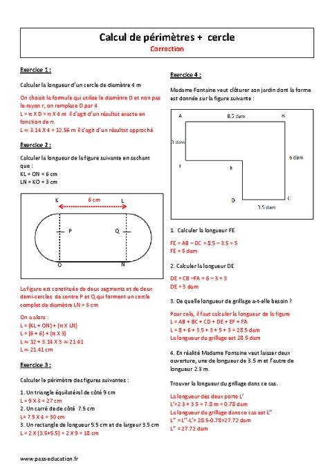 Calcul de p rim tres cercle 6 me exercices imprimer pass education - Calcul de metre carre ...