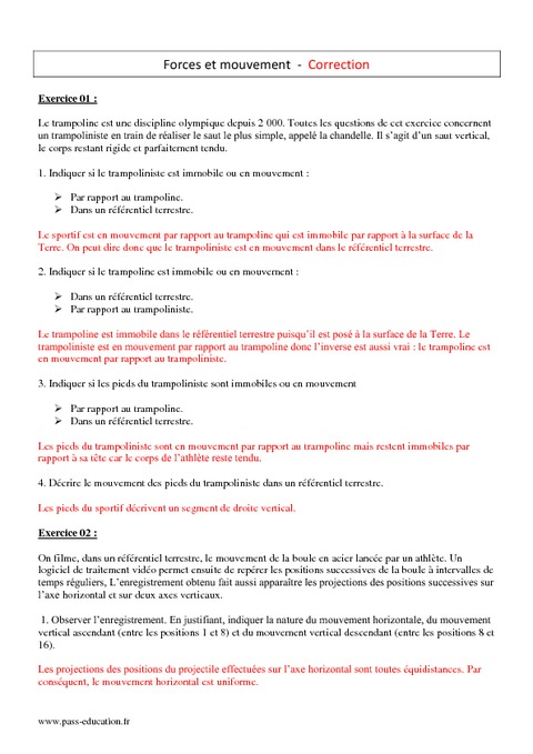 Mouvement - Force - 2nde - Exercices corrigés - Pass Education