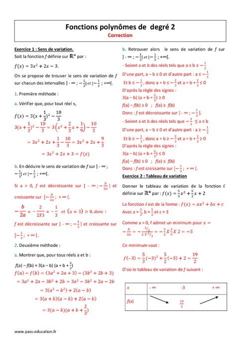Polynôme du second degré - 2nde - Exercices corrigés ...