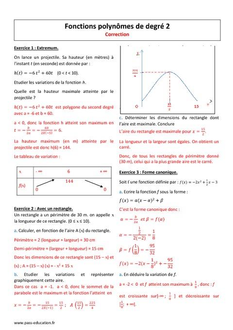Exercices sur les fonctions du second degré