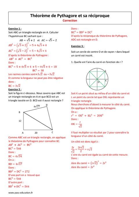 Théorème de Pythagore et sa réciproque - 2nde - Exercices ...