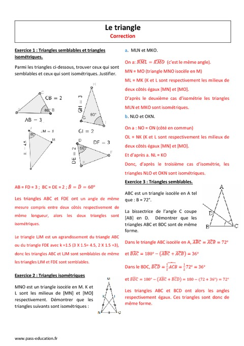 Triangles isométriques, semblables - 2nde - Exercices ...