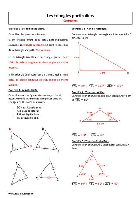 exercices sur les triangles 6ème
