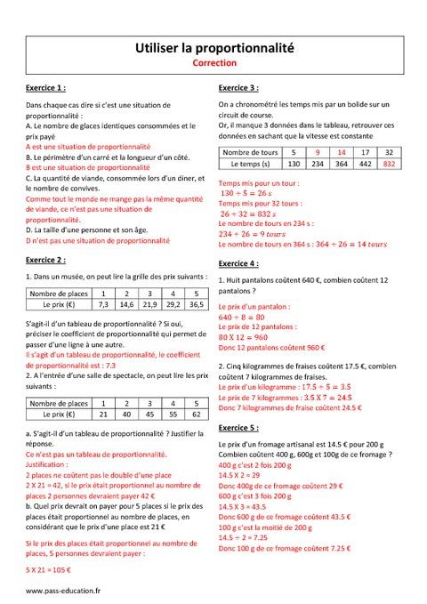 Utiliser la proportionnalité - 6ème - Exercices à imprimer ...