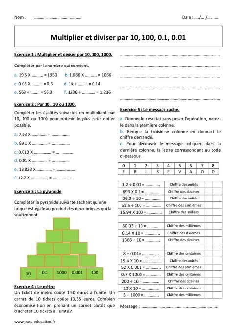 Diviser et multiplier par 10 100 0 1 6 me for Table de 6 exercices