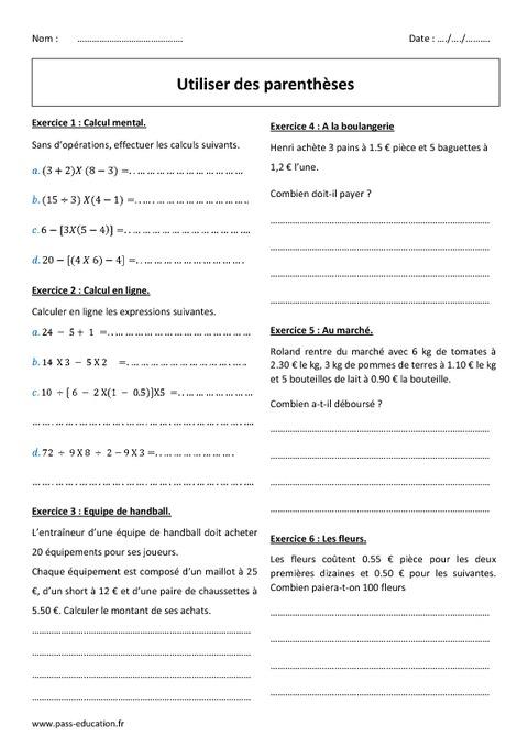 Parenthèses - 6ème - Exercices à imprimer - Pass Education