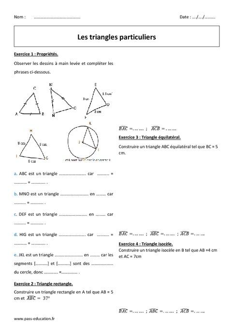 Triangle rectangle, isocèle, équilatéral - 6ème ...