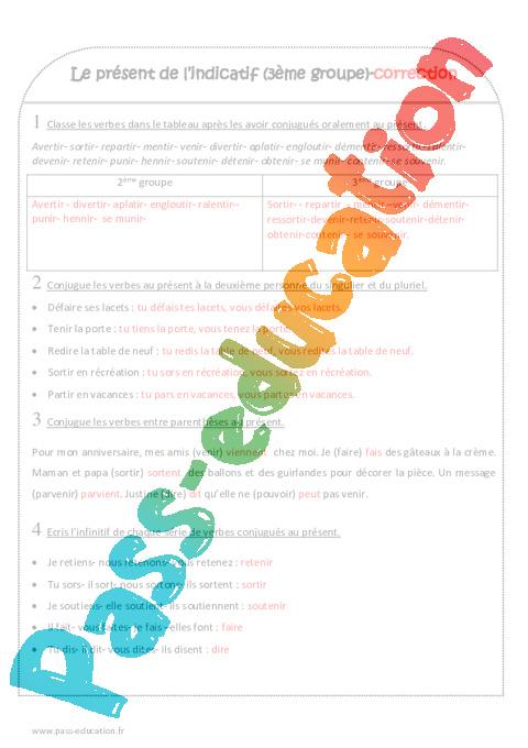 exercices verbes present indicatif pdf