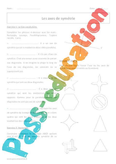 Sym trie axiale 6 me exercices corrig s imprimer pass education - Symetrie a imprimer ...