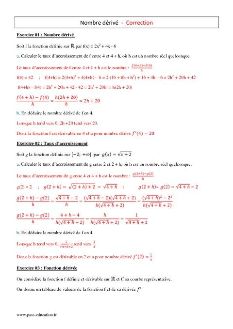Nombre dérivé - 1ère S - Exercices corrigés - Pass Education