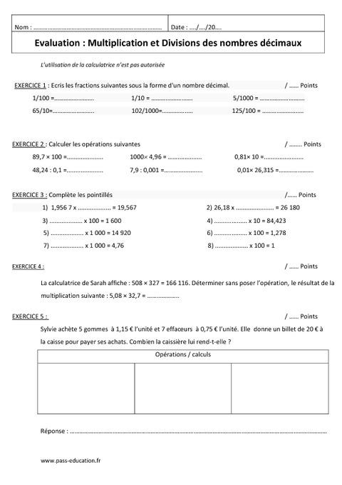 Multiplier et diviser des nombres décimaux - 6ème - Evaluation ...
