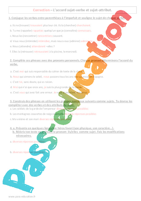 exercices accord sujet verbe 6eme imprimer pdf