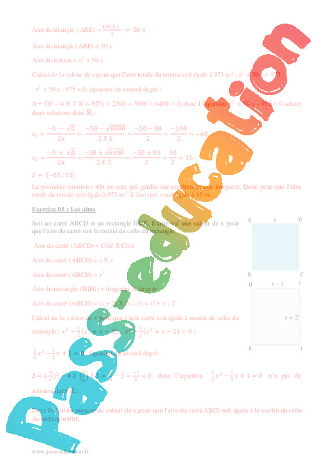 Equation du second degré - 1ère S - Exercices corrigés - Pass Education