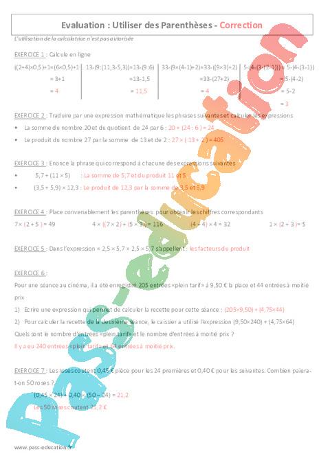 Parenth ses 6 me contr le avec le corrig pass education - Exercice corrige de table de karnaugh pdf ...