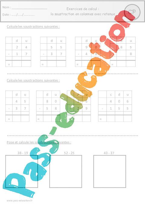 Soustraction en colonnes avec retenue cp exercices pass education - Soustraction avec retenue cm1 ...