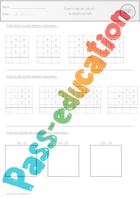 Addition et soustraction ce1 colorier les enfants - Soustraction avec retenue cm1 ...