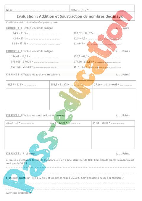 Soustraction et addition de d cimaux 6 me contr le - Exercice corrige de table de karnaugh pdf ...